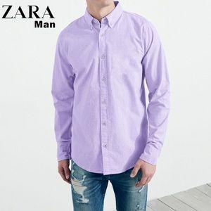 Zara Man Purple Burton Down Dress Shirt Size 14